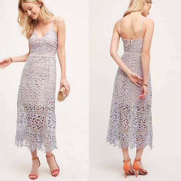29682e9bc0a68 Anthropologie Dresses & Skirts - Anthropologie Tingle Floral Lace Midi Dress